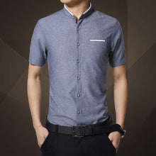 Short Sleeve Mandarin Collar Slim Fit Shirt