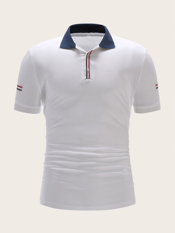 Contrast Collar Striped Tape Polo Shirt