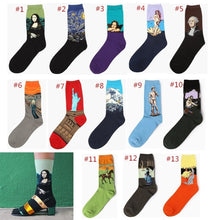 Novelty Famous Oil Painting Art Socks,  Street Graffiti Van Gogh Mona Lisa Long Sock Winter Autumn Cotton Socks