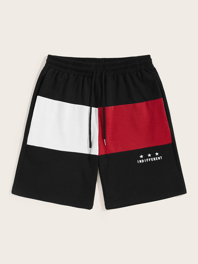 Colorblock Drawstring Shorts