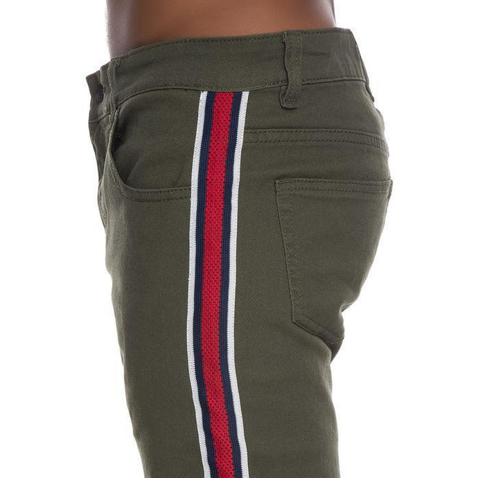 Fresh Taped Denim Jeans in Olive w/ Red, Blue, White Stripes