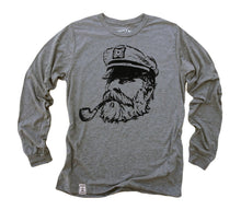 Old Sea Captain: Tri-Blend Long Sleeve T-Shirt in Heather Grey