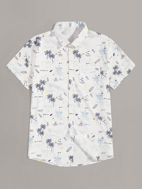 Coconut Trees & Boat Print Shirt