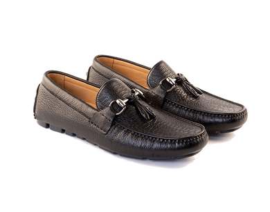 Duilio - Driving Moccasin In Black American Deerskin