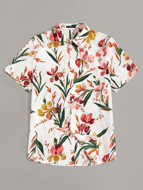 Button Front Botanical Print Shirt