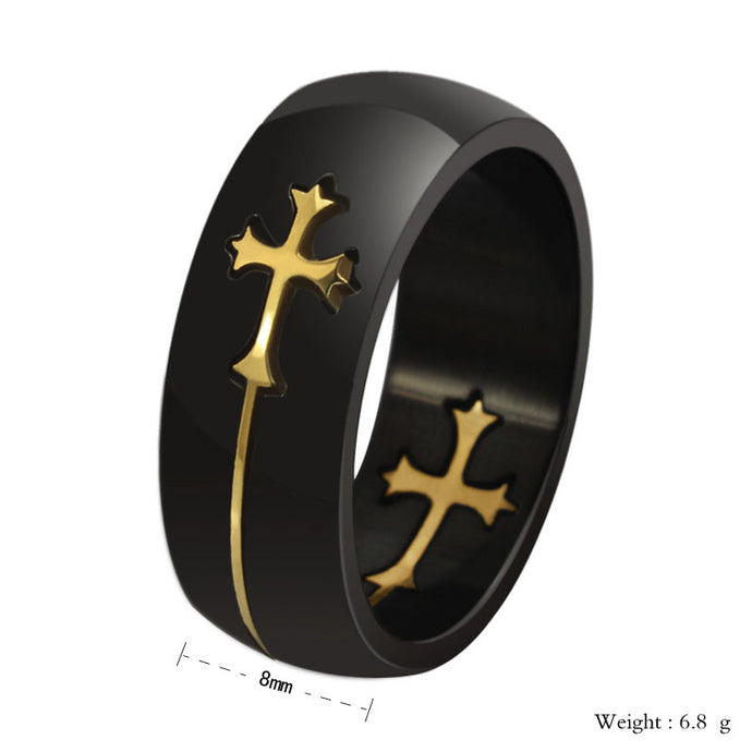 Cross Detachable Design Stainless Steel Ring