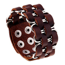 2016 New Fashion Jewelry High Quality Wide Bangle Rivet Alloy Leather Bracelets Men's Vintage Casual Punk Bracelet