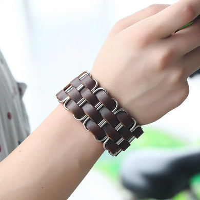 Wide Bangle Rivet Alloy Leather Bracelets