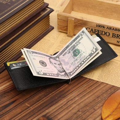 Leather Billfold Money Clip Wallet