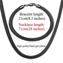 U7 Black Long Necklace Set Wholesale Trendy 6MM Wide 6 Size Snake Chain Necklace Bracelet Men's Jewelry Set S826