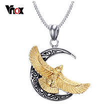 Vnox Men's Punk Hawk Necklace Gold-color Eagle Pendant Biker Necklace Free 24inch Chain Homens Colar