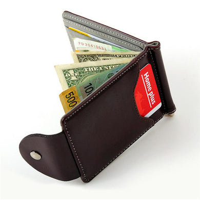 Ultra-thin Leather Money Clip Wallet