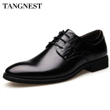 Tangnest Men's PU Leather Dress Shoes Autumn Elegance Gentlemen Style Fashion Flat Male Pointed Toe Lace-Up Business Shoe XMP345