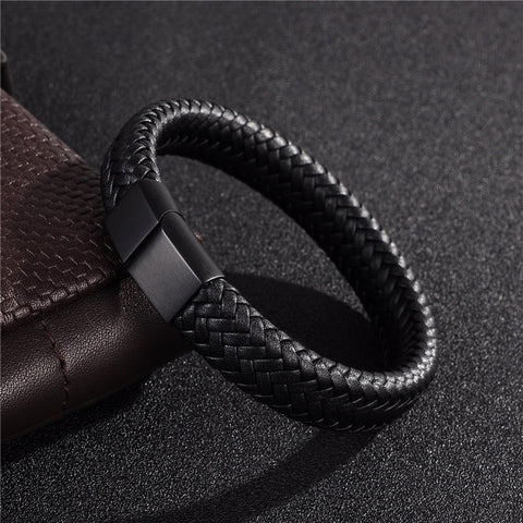 Lure Bracelet - A Black Leather Bracelet with Steel Magnetic Clasp