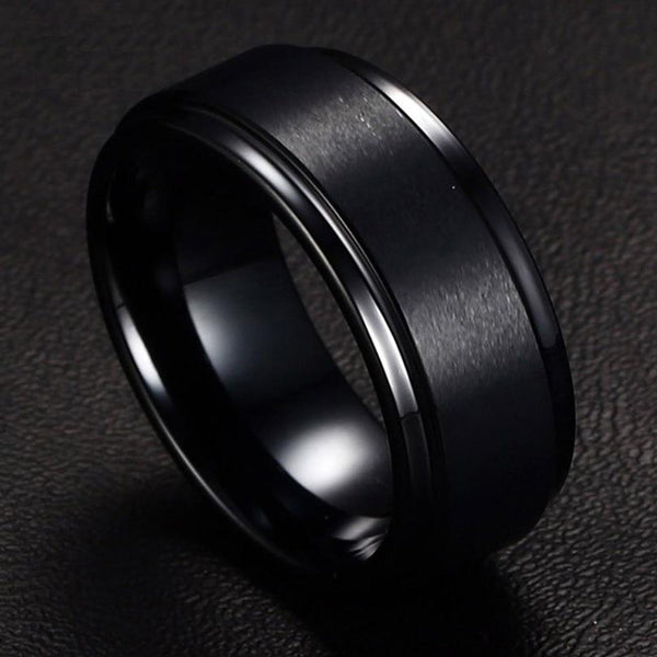 Matte Tungsten Ring for Men in Black
