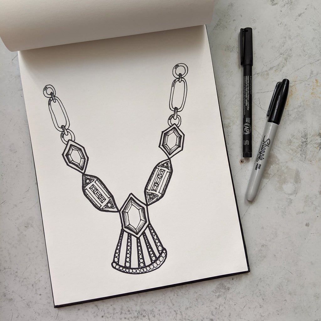Jewelry Coloring Pages - Art Deco Necklace
