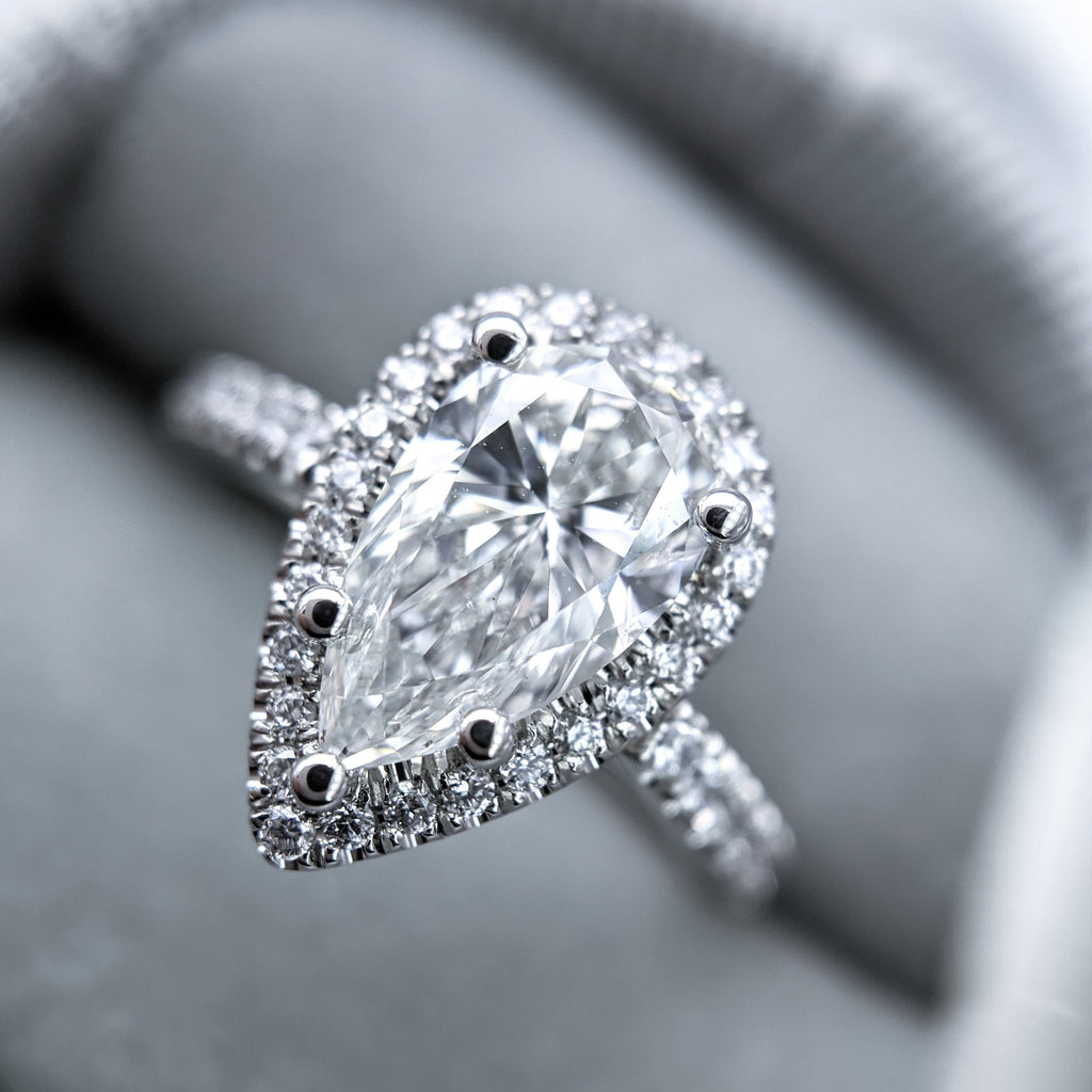 Custom 1.51ct Pear Halo Engagement Ring