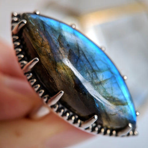 Darkling Halo Ring in Sterling Silver and Labradorite