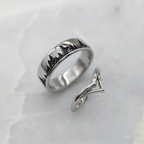 Christine Alaniz Designs - Custom Mountain and Tree Inspired Wedding Ring Set