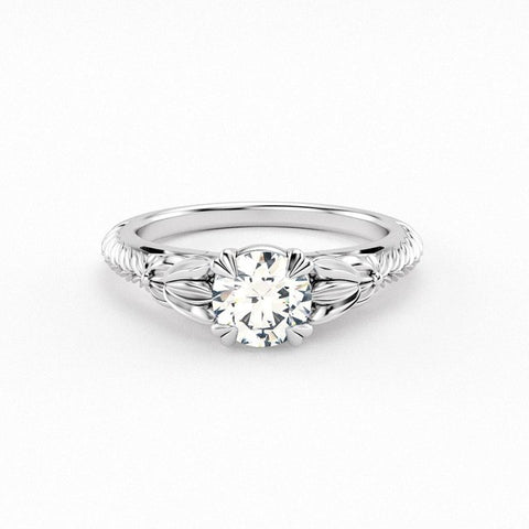 Christine Alaniz Designs - Botanical Engagement Ring with Engraving
