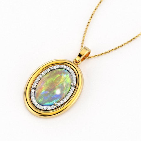 Oval opal gemstone set into a white gold pavé halo, surrounded by a domed yellow gold halo