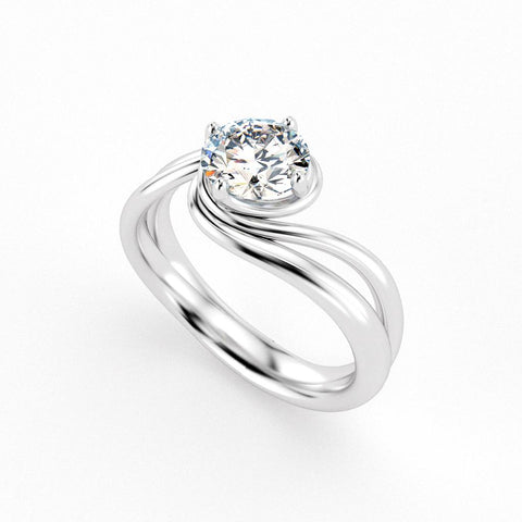Christine Alaniz Designs custom swirl diamond engagement ring