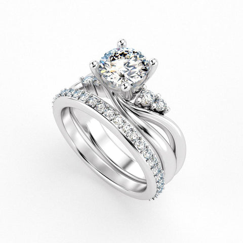 Christine Alaniz Designs custom engagement ring and wedding band set