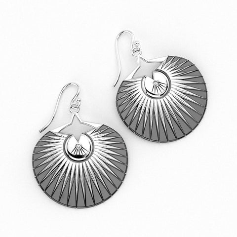 Christine Alaniz Designs Palm Earrings in oxidized sterling silver