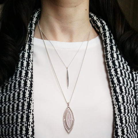Christine Alaniz Designs Darkling Spike Pendant and Magnolia Necklace in sterling silver