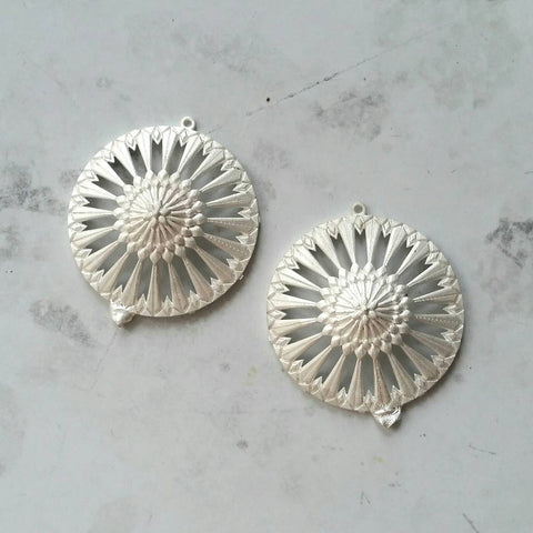 Christine Alaniz Designs Magnolia Circle Earrings raw castings in sterling silver