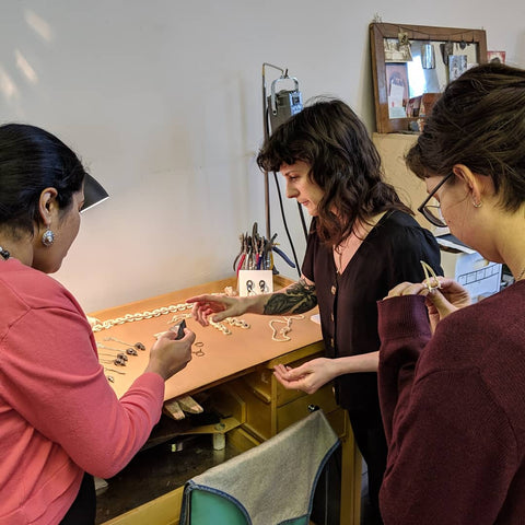 JV Collective Studio Visit with the Women's Jewelry Association of Philadelphia - Luci Jockel Showing Her Jewelry