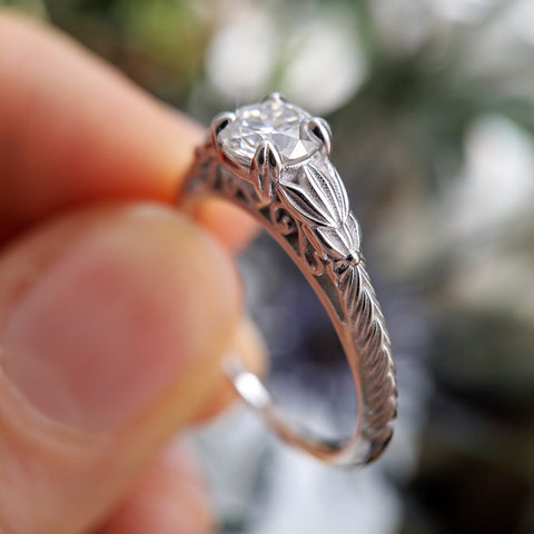 Christine Alaniz Designs custom vintage-inspired engagement ring