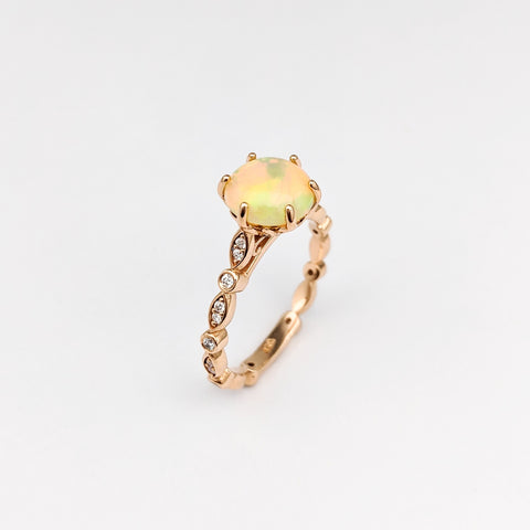 Christine Alaniz Designs - Custom Rose Gold and Opal Engagement Ring