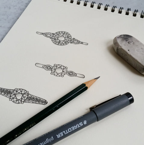 Christine Alaniz Designs hand sketches for custom engagement rings