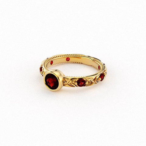 Christine Alaniz Designs yellow gold and ruby ring