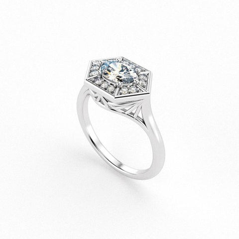 Christine Alaniz Designs - Eliza Oval Halo Diamond Engagement Ring