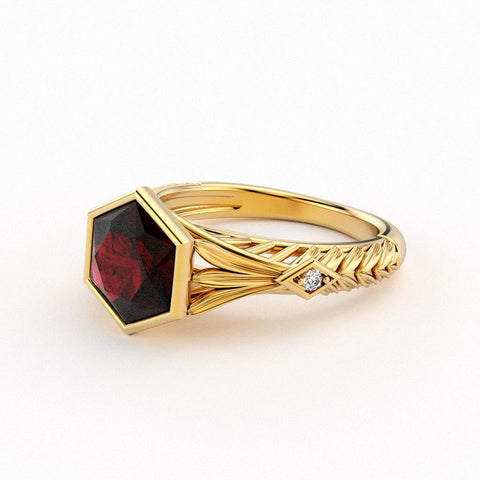 Christine Alaniz Designs hexagon garnet and 18kt yellow gold leaf engraving antique inspired engagement ring