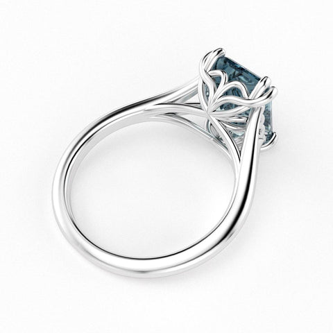 Christine Alaniz Designs emerald cut aquamarine ring in white gold