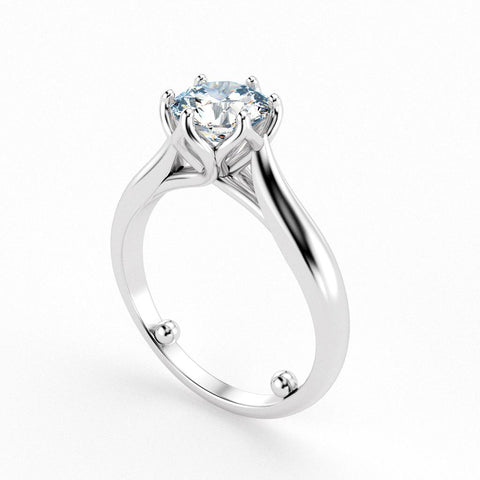 Christine Alaniz Designs round solitaire engagement ring with sizing beads