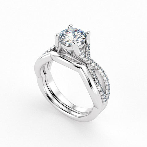 Christine Alaniz Designs round diamond engagement ring with a woven pavé shank and a contoured, plain wedding band
