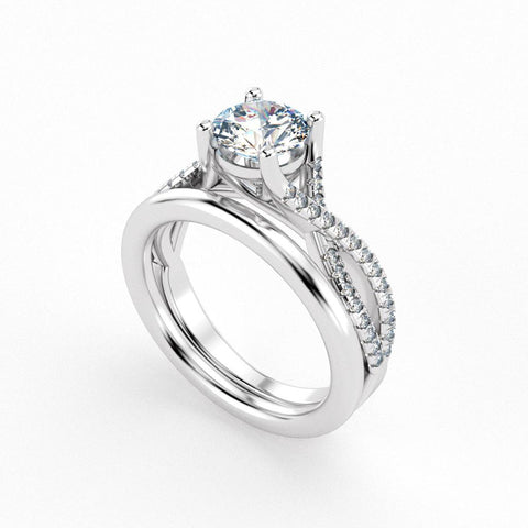 Christine Alaniz Designs round diamond engagement ring with a woven pavé shank and a straight, plain wedding band