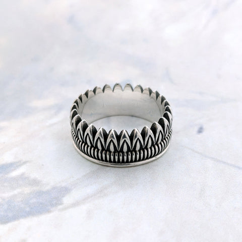 Christine Alaniz Designs Protea Stacker Ring in oxidized sterling silver