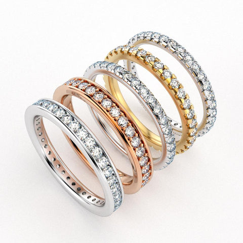 Pavé diamond setting styles. Wedding band options in white, rose and yellow gold
