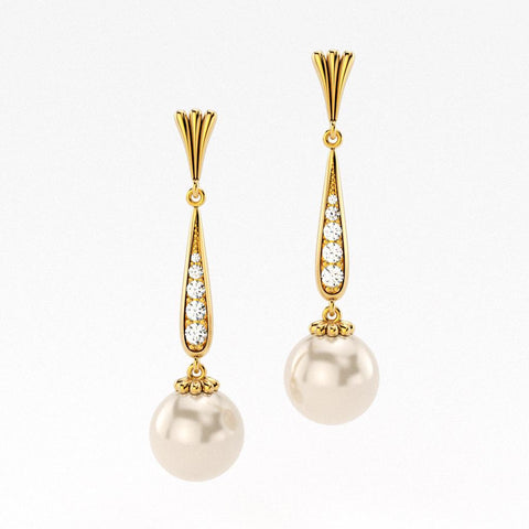 Yellow gold and pave diamond drop pearl earrings