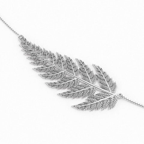 Christine Alaniz Designs custom fern leaf pendant choker necklace in sterling silver