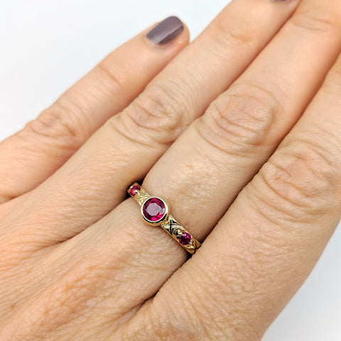 Christine Alaniz Designs Heirloom Ruby Ring on the hand