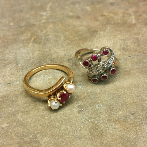 Christine Alaniz Designs customer ruby rings for a redesign