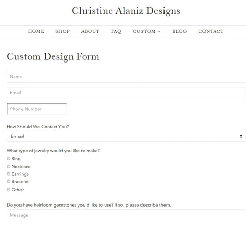 Christine Alaniz Designs Custom Design Form