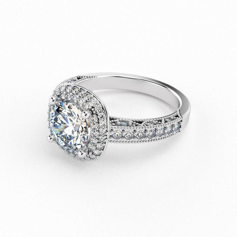 Christine Alaniz Designs cushion double halo engagement ring with a pavé shank