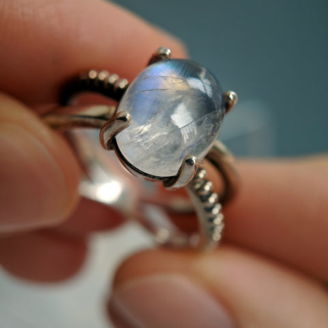 Christine Alaniz Designs Darkling Oval Ring with moonstone